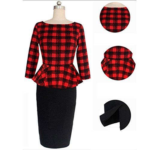 Sitengle Vestiti Donna Eleganti Peplum Giuntura Stampa a Quadri a Tulipano Abito Vestitino da Cerimonia Formale e business Rosso