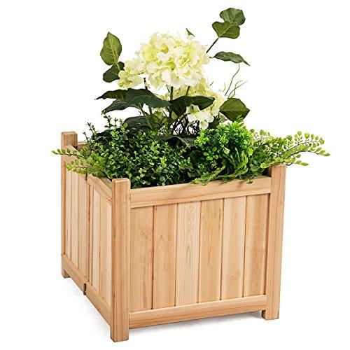 Giantex Hochbeet Holz Outdoor Terrasse Gemüse Blume Rechteckig Übertopf 15