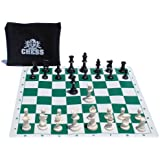 WE Games Ultimate Compact Tournament Chess Set with Green Silicone Chess Board
