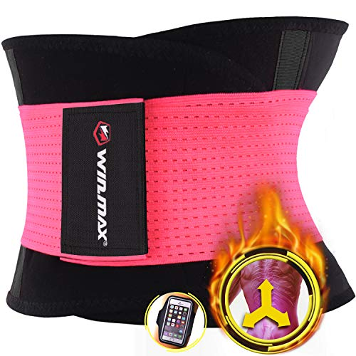 Win.max fascia addominale dimagrante per donna e uomo,waist trainer bustino shaper perdita di peso,neoprene regolabile cintura snellente, protegge schiena e lombare (rosa-2, xxl)