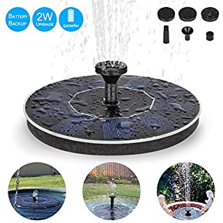 Eletorot Solar Water Fountain, Upgraded 2W Solar Fountain Pump Solar Pond Pump With Battery Backup, Floating Fountain Pump for Garden Decoration, Bird Bath, Pond, Fish Tank, Pool, Water Cycling