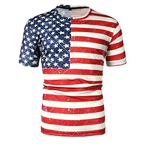 LianMengMVP Sommer der neuen Art-Unabhängigkeitstag der Männer 3D Amerikanische Flagge, der Kurze Ärmel Blusen-Spitze druckt (Sie Uhren Wie Zu Sammeln,)