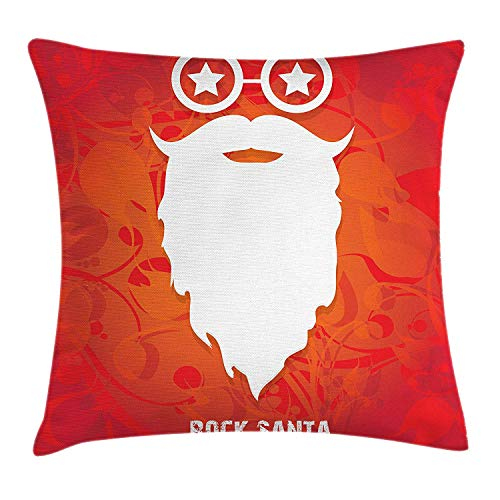 Indie Throw Pillow Cushion Cover, Rock Santa Claus Christmas Theme Beard Silhouette and Round Glasses with Stars, Decorative Square Accent Pillow Case, 18 X 18 inches, Red Orange White