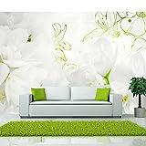 Vlies Fototapete 400x280 cm - 3 Farben zur Auswahl - Top - Tapete - Wandbilder XXL - Wandbild - Bild - Fototapeten - Tapeten - Wandtapete - Wand - Blumen weiß grün rose blau b-A-0022-a-b