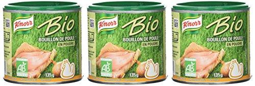 Knorr Bouillon Poule en Poudre Bio 135 g - Lot de 3