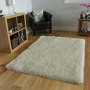 Tappeto elegante bianco avorio brillante extra morbido pelo lungo 7 misure casa e cucina - Tappeti in lana moderni ...