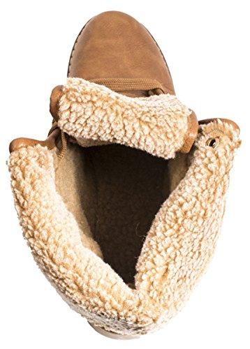 Elara Damen Worker Boots | Bequeme Warm Gefütterte Schnürrer | Outdoor Stiefeletten Camel Alaska