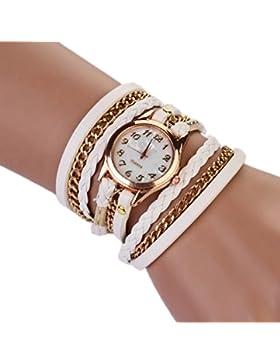 Sannysis Strap Geflochtenes Wickel Niet-Armband-Armbanduhr-weiß