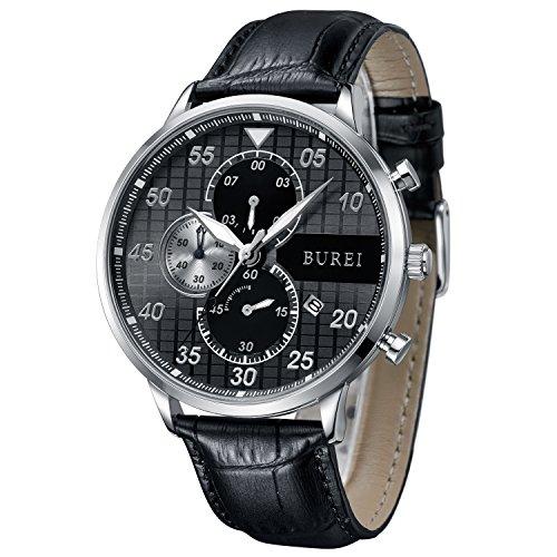 BUREI Chronograph Herren Armbanduhr Großes Ziffernblatt schwarz Herren Uhr Gross mit Datumsanzeige und Kalbslederband Geschenke für Herren (schwarz)