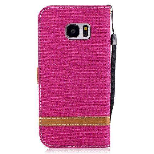 Custodia Galaxy S7 Edge, ISAKEN Flip Cover per Samsung Galaxy S7 Edge con Strap, Elegante Bookstyle Contrasto Collare PU Pelle Case Cover Protettiva Flip Portafoglio Custodia Protezione Caso con Suppo Marrone+roseo