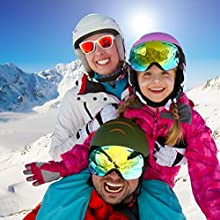 HAMSWAN Gafas de Esquí Lente Dorada Snowboard Sunglassses Polarizada Goggles Gafas de Protección Gafas Deportivas Gafas de Ciclismo para Esquí Bicicleta y Windsurfing Aire LibreN