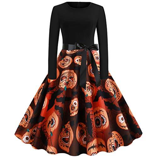 Oyedens Hippie Kleidung Damen Frauen Vintage Langarm Abendkleid Halloween 50er Jahre Hausfrau Abend Party Kleid - Rosa Heißen 50er Jahre Für Erwachsene Kostüm