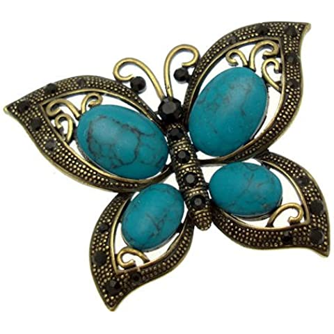 Acosta–estilo turquesa negro–Vintage de mariposa de cristal broche (antiguo tono de
