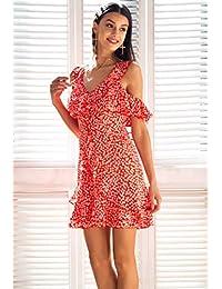 23eab1365 WULILEI Mini Vestido con Cuello Redondo y Estampado Floral Volante con  Volantes Vestido Corto de Verano