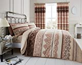 Duvet Cover Set King Size Kingsize With Pillowcases Quilt Bedding Set Reversible Printed Poly Cotton , Reverie Natural