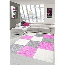 shaggy tapis shaggy pile longue tapis tapis de salon patterned dans karo design cream gris rose - Tapis Ados