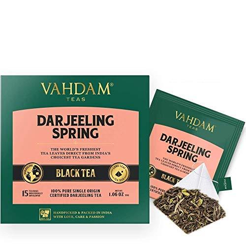Exotische Darjeeling First Flush Teeblätter, 15 Tea Bags (2er-PACK), Long Leaf Pyramid Darjeeling Teebeutel, 100% reiner ungemischter First Flush Darjeeling Tee, verpackt in Indien