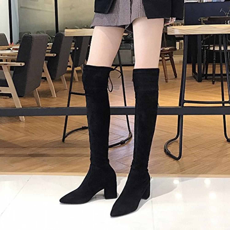 ANI Zapatos de Mujer de Invierno Más Terciopelo Grueso con Botas Western Sw Puntiagudos de Rodilla con Cordones...