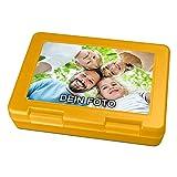 PhotoFancy® - Brotdose mit Foto bedrucken - Brotbox zum personalisieren - Lunchbox mit eigenem Motiv selbst gestalten (Gelb)