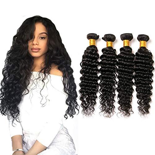 Brasilianische haare human glatt 18 20 22 24 inches deep wave weave 4 bundles unprocessed 100 virgin remy human hair weft 400g natural color -