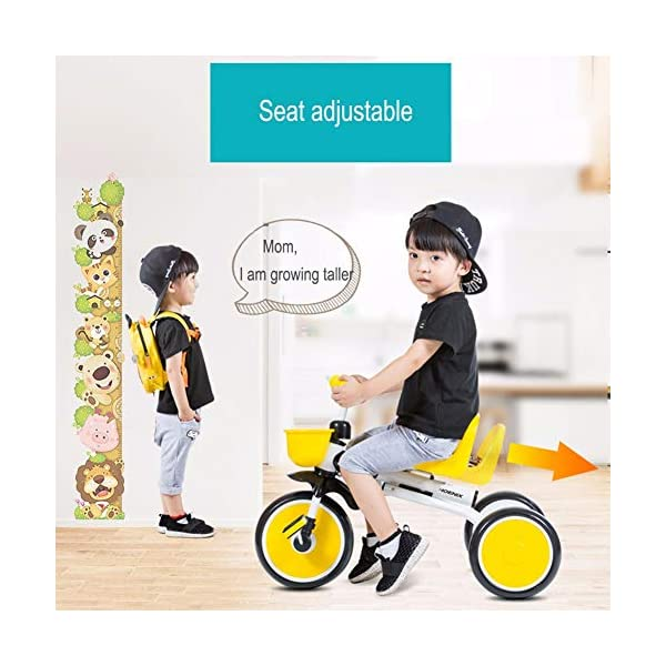 GSDZSY - Children kids Tricycle Foldable, Handlebar steering limit, 1-3 years old GSDZSY ❀ Material: High-carbon steel +ABS+ Rubber wheel ,Suitable for 18 Months to 5 years old Child, Maximum Load 30 kg ❀ The Push Rod can be adjusted Height, Pusher can control direction, Suitable for mothers of different heights ❀ The tricycle frame can be folded for easy carrying and storage 4