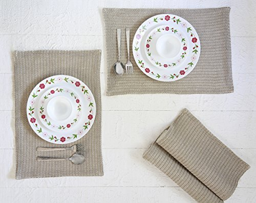 Mother 's Day Gifts Platzsets aus Baumwolle für Küche Tisch Set aus 4Platzdeckchen Untersetzer und Tischläufer Hand gewebt beige Farbe Küche Esszimmer Decor Zubehör