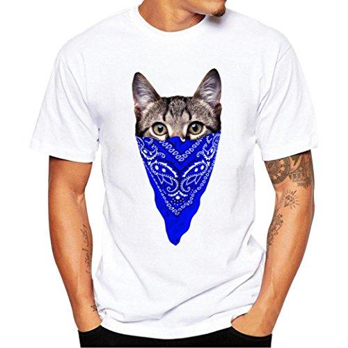 Herren Shirt Cool Sommer Kurze Sunday Musikalische Maskierte Katze Druck Tees Shirt Kurzarm T Shirt Bluse (XXL, Blau) (Alltags-unisex V-neck Top)