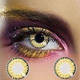 82155 Paar Kontaktlinsen linsen farbig gelb braun honey honig glamour halloween kostüme neu