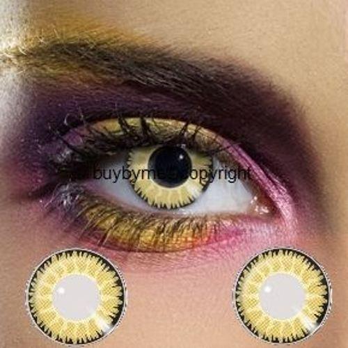 82155 Paar Kontaktlinsen linsen farbig gelb braun honey honig glamour halloween kostüme ()