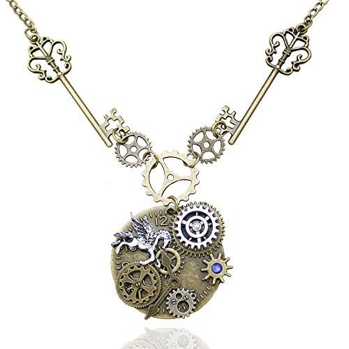 RechicGu viktorianische Skelettschlüssel-Uhr mit Getrieberädern als Motiv, mit Kette im Alice im Wunderland-Stil