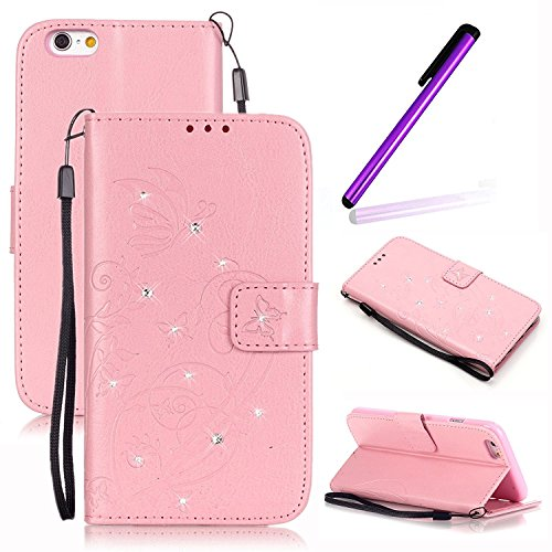 iPhone 4S Hülle Mädchen,iPhone 4S Hülle Leder,iPhone 4S Case Flip Hüllen Schutzhülle Etui Ledertasche Lederhülle Hülle,EMAXELERS iPhone 4S / 4 Flip PU Leder Wallet Case Hülle Cover,Bling Glitzer Schmetterling Muster Back Hüllen Schutzhülle Etui Lederhülle Hülle Case Cover mit Standfunktion Kunstleder for iPhone 4S + 1 Stylus,Pink Butterfly with Diamond (Pink Wallet Iphone 4 Etui)