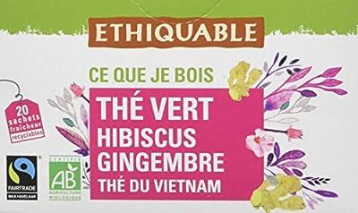 Ethiquable Thé Vert Hibiscus Gingembre Vietnam Bio et Équitable 20 Sachets Max Havelaar - Lot de 4