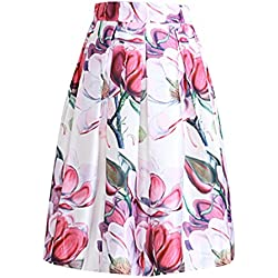 Flores De Estilo Vintage Impresos Completos Mujeres Plisadas Nuevas Faldas De Cintura Alta Midi
