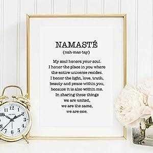 Kunstdruck, Sprüche Poster: Namasté | Hochwertiges und festes Premiumpapier | Ohne Rahmen