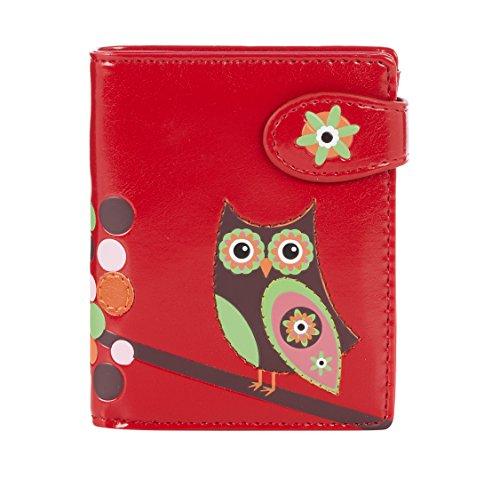 Shagwear Junge-Damen Geldbörse, Small Purse: (Eule Rot/ Retro Owl)