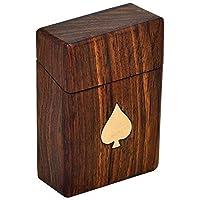 ZYNTIX® Handmade Wooden Playing Card Deck Holder/Cigarette Pocket Holder Vintage Box Brass Leaf