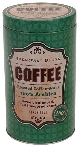 Unbekannt Kaffeedose Breakfast Blend Rund 11x19cm Stülpdeckel Aromadeckel Vintage grün