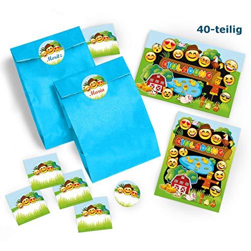 Stroh Bauer Hats - 10 Einladungskarten Geburtstag Kinder Bauernhof für