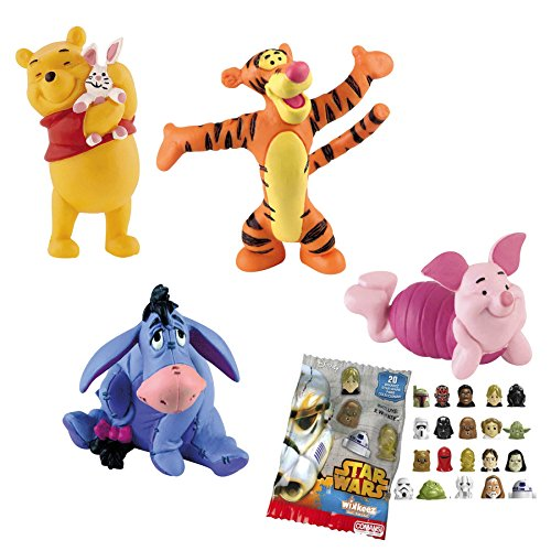 LOTE 4 FIGURAS Bullyland Winnie the Pooh - Winnie the Pooh - Tigger - Igor - Piglet + REGALO
