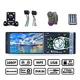 YUGUIYUN Autoradio 4.1'' Bluetooth 1 Din, Audio Stéréo Poste Radio Voiture Mains Libres Lecteur Vidéo MP4 FM AUX USB TF Télécommandes avec Caméra de Recul 4012B