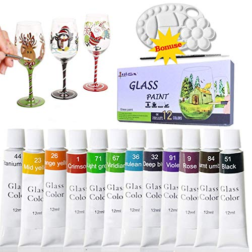 Gebeizt Art-glas-fenster (lasten12Farben Permanent Glas Farbe Kit mit Palette & Paint Pinsel, Lack, geriffelt für Superior Buntglas, ungiftig für Glas und gebeizt Galerie Art Paint Art Paint Glas Windows)