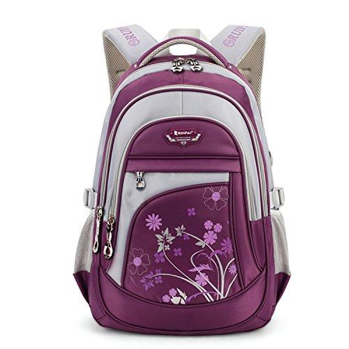 Leefrei Schulrucksack Schulranzen Schultasche Sports Rucksack Freizeitrucksack Daypacks Backpack für Mädchen Jungen & Kinder Damen Herren Jugendliche mit der Großen Kapazität (Lila-Blume) (Blumen-mädchen-rucksack)
