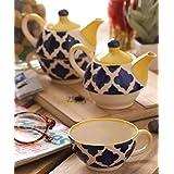 VarEesha Ceramic Cup with Kettle Set, 4-Pieces, Multicolor