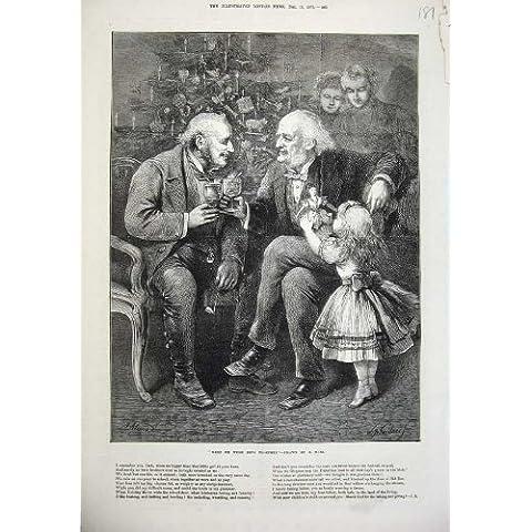 1873 Uomini Anziani che Bevono Arte di Natale della Bambola della Bambina - I Bambini Bevono