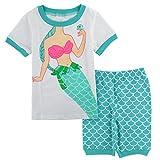 Mombebe Bambina Unicorno Pigiama Corto Ragazze Estate Pajamas Set (Sirena, 5 anni)