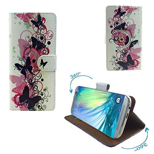 Alcatel One Touch Idol 2 Mini Smartphone Tasche / Schutzhülle mit 360° Dreh und Standfunktion - 360° Blumen Schmetterling Nano S