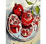 Fotos de pintura por números DIY pintura al óleo decoración para el hogar para la sala de estar moderna pintura al óleo abstracta granada roja