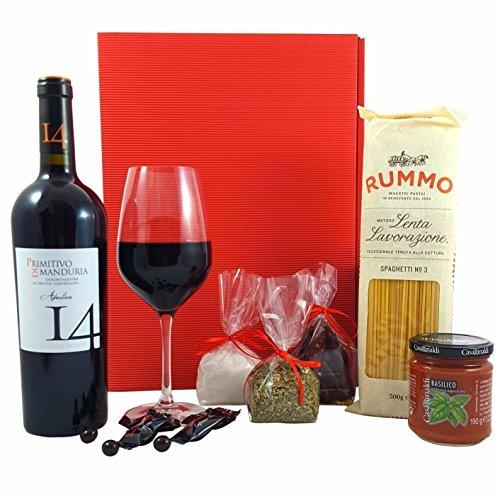 GESCHENKSET ITALIEN | Rotwein Primitivo di Manduria, Spaghetti & Pastasauce, 3x Gewürze | italienischer Geschenkkorb, Pasta-Geschenk-Set, italienische-Geschenke, italienische Spezialitäten, italienischer Geschenkkorb, Geschenkset Wein, Wein-Präsent, Geschenke für Männer, Geschenke für Frauen, Dankeschön Geschenke, Geschenke zum Einzug, Geburtstagsgeschenk, Gewürzset, Geschenkbox, Präsentkorb, Fresskorb, Männer Geschenke, italienische Feinkost (Schokolade Geschenk-körbe)