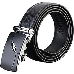 Xpassion Cinturón de Cuero para Hombre Cinturones Hebilla Automática 3,5cm Ancho (130cm, Negro 8)