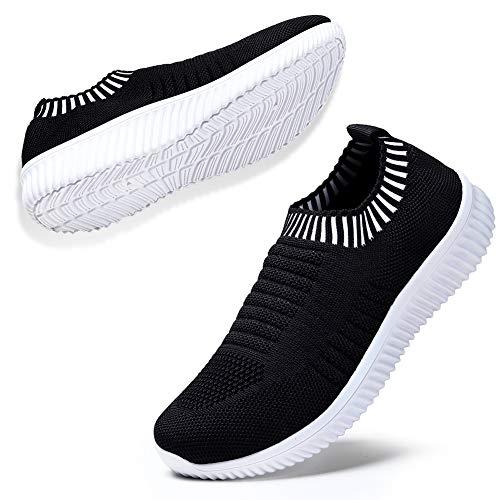 Damen-freizeitschuhe (STQ Walking Shuhe Bequeme Mesh Slip On Atmungsaktiv Sneakers Outdoor Freizeitschuhe Laufschuhe Turnschuhe(Schwarz Weiß 39))